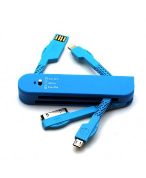 Forever 3in1 USB kábel 30-PIN (iPhone 4) & Lightning (iPhone 5) blue