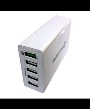 Sieťový adaptér Swissten Qualcomm 3.0 + Smart IC 5x USB 50 W biely