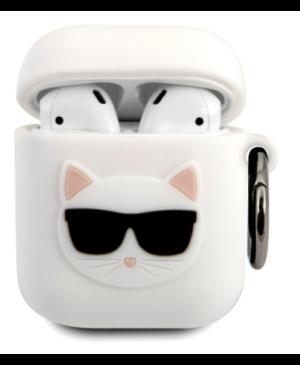 Silikónové puzdro Karl Lagerfeld na Apple Airpods 1/2 KLACA2SILCHWH Choupette Head biele