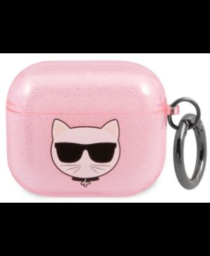 Silikónové puzdro Karl Lagerfeld na Apple Airpods 3 KLA3UCHGP Glitter Choupette Head ružové