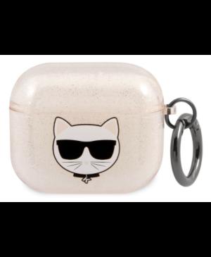 Silikónové puzdro Karl Lagerfeld na Apple Airpods 3 KLA3UCHGD Glitter Choupette Head zlaté