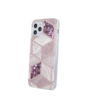 Silikónové puzdro na Apple iPhone 12/12 Pro Geometric Marmur tmavo-ružové