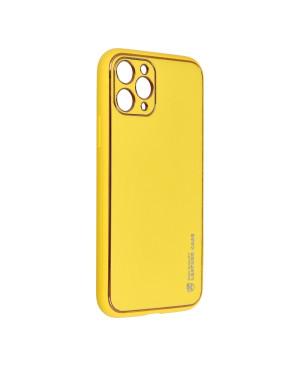Plastové puzdro na Samsung Galaxy A02S Forcell LEATHER žlté