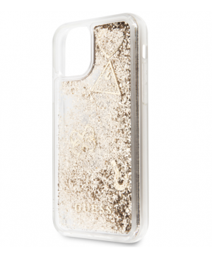 GUHCN58GLHFLGO Guess Glitter Hearts Zadní Kryt pro iPhone 11 Pro Gold (EU Blister)