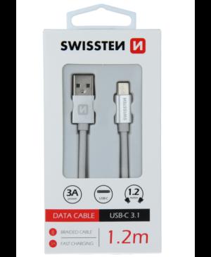 Kábel Swissten USB/USB-C 3.0A 1,2 m strieborný
