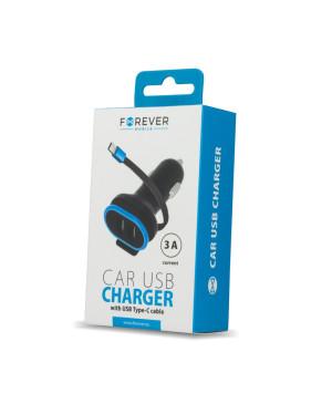 Auto nabíjačka Forever CC-02 2xUSB 3A s káblom USB typ-C čierna