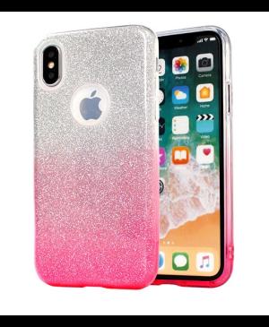 Silikónové puzdro na Samsung Galaxy A12 A125 Shine Bling ružovo-strieborné