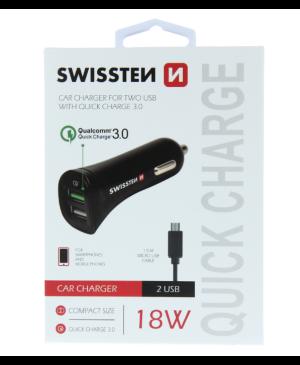 Adaptér Swissten Cl 3.0 A USB 2,4A 18W + micro USB kábel čierny