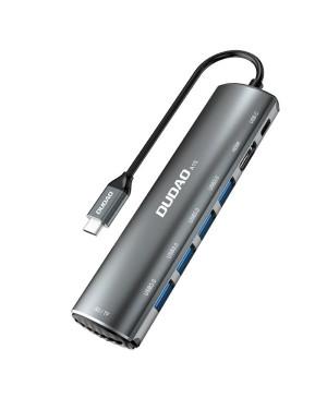 Adaptér z USB typ-C na USB Typ C/Standard HDMI Typ A /USB Typ A/ card slot SD+microSD Dudao 8v1 sivý