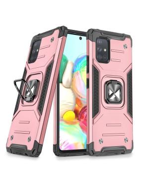 Odolné puzdro na Samsung Galaxy A71 Ring Armor ružové