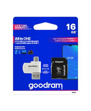 Pamäťová karta microSDHC 16 GB GOODRAM s adaptérom a čítačkou kariet