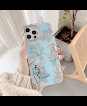 Plastové puzdro na Apple iPhone 12/12 Pro Classic Flower modré