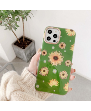 Plastové puzdro na Apple iPhone 12/12 Pro Classic Flower zelené