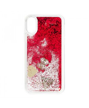 GUHCPXGLHFLRA Guess New Glitter Hearts Pouzdro pro iPhone X Rapsberry