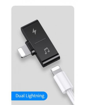 USAMS SJ384 Dual Lightning Dobíjecí & Audio Adapter Black (EU Blister)