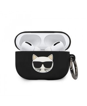 Silikónové puzdro na  Airpod Pro KLACAPSILCHBK Karl Lagerfeld Choupette Pouzdro čierne