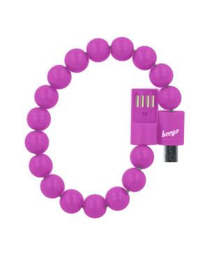 Micro USB kábel Beeyo náramok ružový