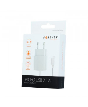 Micro USB wall charger 2,1A white