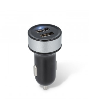 USB car charger 2in1 1A/2.1 black CC 04