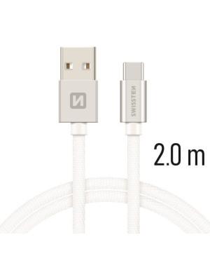 Kábel Swissten USB - USB-C 2.0 m 3.0A  biely