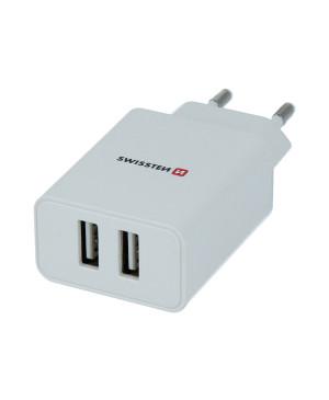Nabíjačka Swissten SMART IC 2xUSB 2,1A POWER + kábel USB/Lightning,1.2 m biela