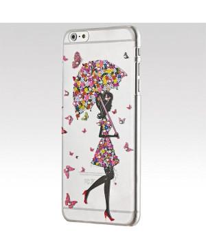 Plastové puzdro Rhinestone pre Apple iPhone 6/6s Plus lady's umbrella