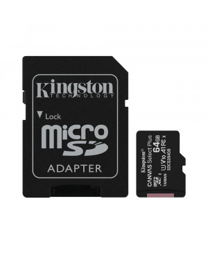 Pamäťová karta 64 GB GB microSDHC Kingston Canvas Select Plus Class 10 s adaptérom
