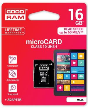 Pamäťová karta microSDHC 16GB Goodram s adaptérom