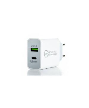 Sieťová nabíjačka ER Power USB-C PD 20 W/USB-A QC 3.0 biela