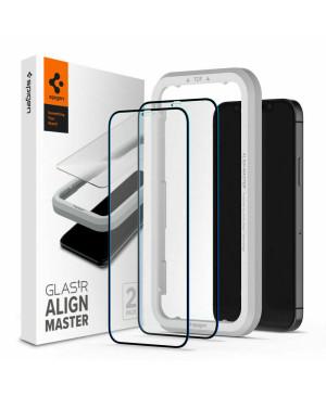 Tvrdené sklo na Apple iPhone 12/12 Pro Spigen Glass AlignMaster Duo Pack čierne