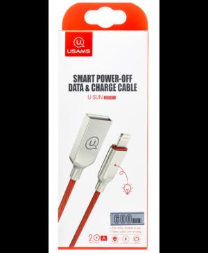 Kábel USAMS Lightning SJ418 Smart Power Off červeno-zlatý  (EU Blister)