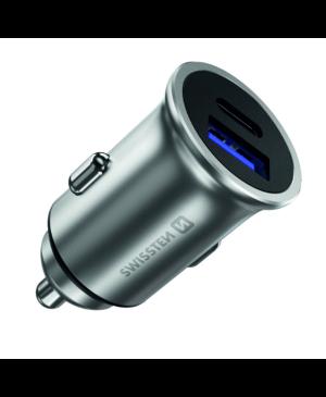 Autonabíjačka SWISSTEN USB QC 3.0 + USB-C (PD iPhone) 36W - strieborná