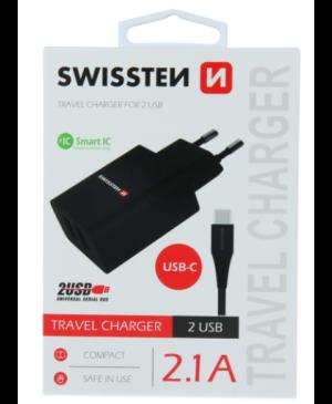 Sieťová nabíjačka Swissten Smart IC 2 x USB + USB-C kábel 2.1A 10,5W čierna