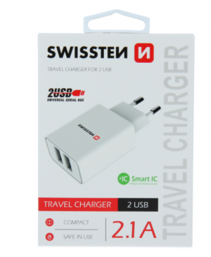 Adaptér Swissten Smart IC 2 x USB, 2.1A, 10,5W biely
