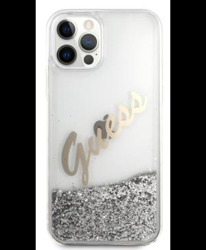 Puzdro Guess na Apple iPhone iPhone 12 mini GUHCP12SGLVSSI Glitter Vintage strieborné