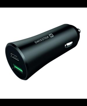 Autonabíjačka Swissten 36W 1x USB-C (Power delivery) 1x USB (Q.C. 3.0)