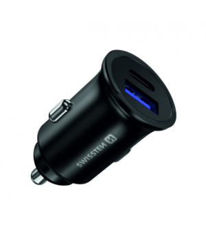 Autonabíjačka SWISSTEN USB QC 3.0 + kábel USB-C (PD iPhone) 36W čierna