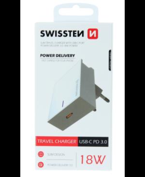 Nabíjací Adaptér Swissten USB-C Power Delivery 18W biely
