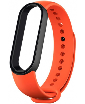 Silikonový náramok pre Xiaomi Mi Band 5/6 oranžovo-čierny (Bulk)