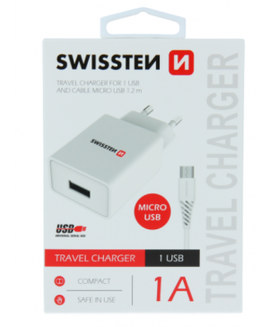 Nabíjačka Swissten Smart IC USB + Micro Usb kábel, 1A, 5W biela
