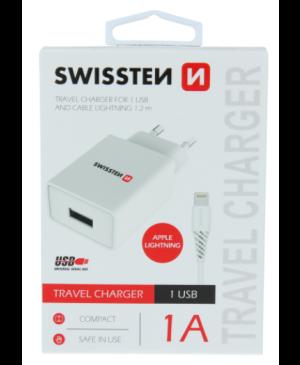 Nabíjačka Swissten Smart IC USB + Lightning (8pin), 1A, 5W biela