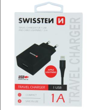 Nabíjačka Swissten Smart IC USB + Lightning (8pin), 1A, 5W čierna
