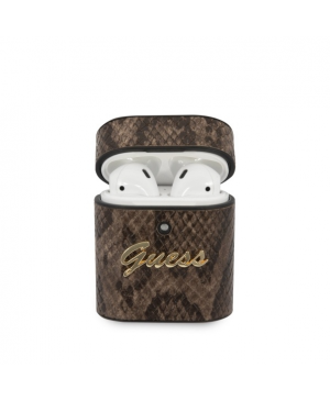 Puzdro Guess Airpods 1/2 case GUACA2PUSNSMLBR brown Python Collection