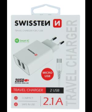 Nabíjačka Swissten Smart IC 2 x USB + Micro Usb kábel, 2.1A, 10,5W - biela