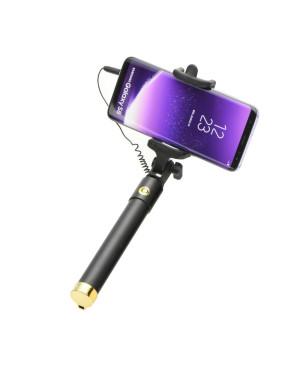 Selfie tyč (3,5 mm jack kábel) čierno zlatá