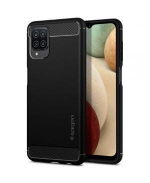 Silikónové puzdro na Samsung Galaxy A12 Spigen Rugged Armor čierne