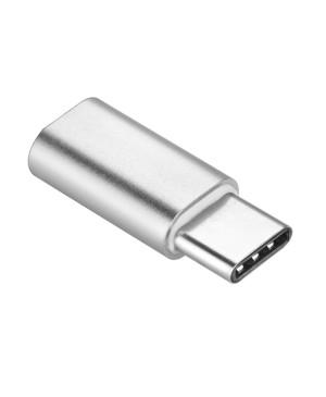 Adaptér z micro na USB typ-C strieborný