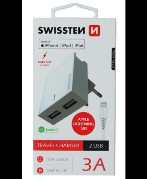 Sieťový adaptér Smart IC 2x USB 3A + dátový kábel USB/lightning Mfi 1,2 m biely