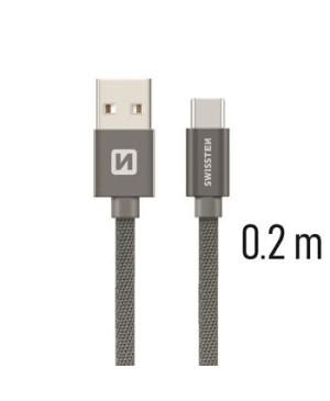 Kábel Swissten opletený USB-USB-C 20cm - šedý