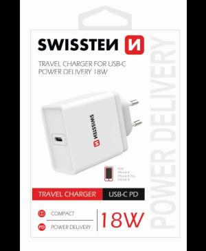 Swissten Cestovná nabíjačka USB C 18W biela